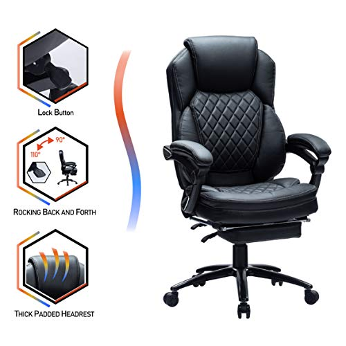 KCREAM Executive Office Chair, Computer Chair with Thick Padded Armrest and Lumbar Support for Home & Office, Bonded…