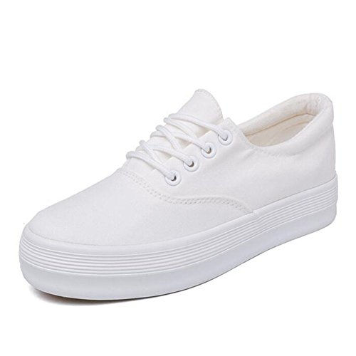 Buganda Women Canvas Lace up Shoes Casual Round Toe Classic Sneakers Low Cut Hidden Heel Spring Shoes (Canvas Platform)