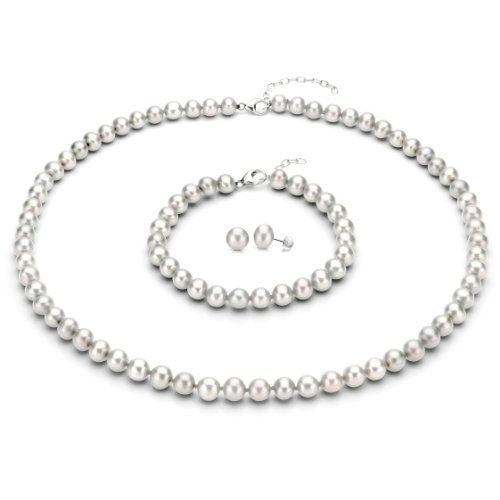 Sterling Silver 8-8.5mm White Freshwater Cultured Pearl Necklace 18 2 , Bracelet 7 , Stud Earrings