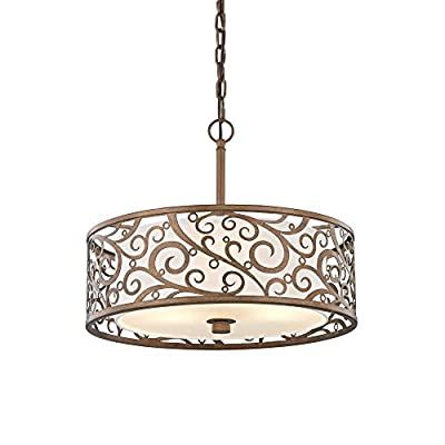 """Fifth and Main HD-1073-I Carousel 3 Light 18"""" Pendant, Burnished Gold"""