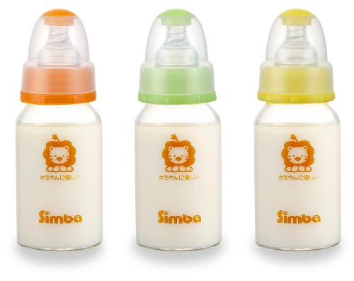 Simba BPA Free Diamond Light Glass 3 Packs Natural Flow Standard Neck Feeding Bottle (4 oz) (Neck Stage 3 Standard)
