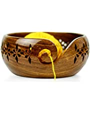 Nagina International Rosewood Crafted Wooden Yarn Storage Bowl with Carved Holes & Drills   Knitting Crochet Accessories