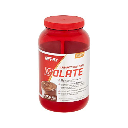 MET-Rx Ultramyosyn Whey Protein Isolate Powder, Great for Meal Replacement Shakes, Low Carb, Gluten Free, Chocolate, 2 lbs