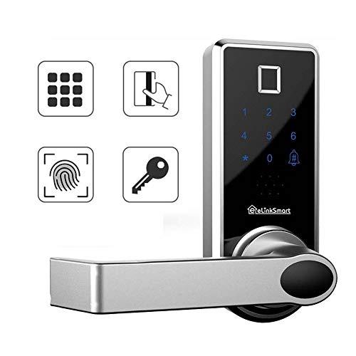 eLinkSmart Smart Fingerprint Door Lock Biometric Keyless Electronic Lock Touch Screen Keypad Keys Power Anti Peeping Password USB Emergency for Home Apartment School Gym Office Room