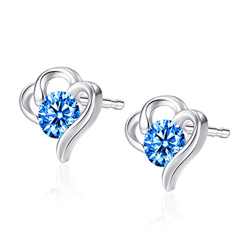VIGG 925 Sterling Silver Earrings Heart Shaped Stud Earrings For Women with Swarovski Crystals (Blue) ()