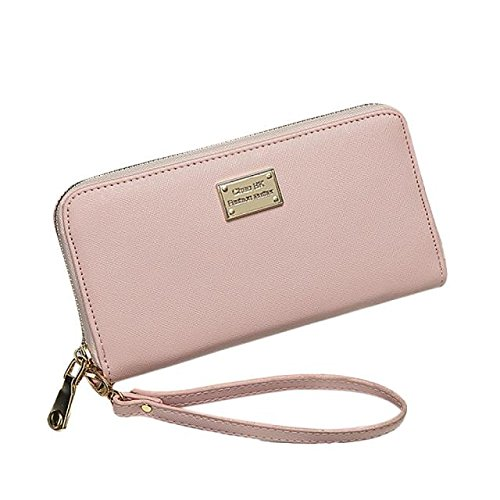 Han Shi Women Wallet, Lady Girls Fashion Clutch Purse PU Leather Small Bag Card Holder (Pink, M)