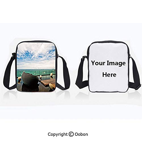 Unisex Adult Polyester Crossbody Bag Waterproof Horizon Sea View at Pattaya City Thailand Balcony Beach Asian Tropical Tranquil Multicolor Zipper Anti Theft Shoulder Bag For Travel (Best Shopping In Pattaya)
