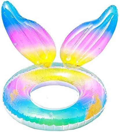 GSAGJyec インフレータブルプールフロート行、夏のパーティー屋外の水レクリエーションのための虹色のスイムリングプールチューブサマービーチプールのおもちゃ大人の子供のための