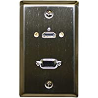 Theater-Pro 75-609 Stainless Steel Wall Plate With HDMI & VGA Feed Through Jacks