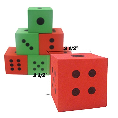 Pack of 24 - Green and Red Playing Soft Foam Dices – Board Games, Family Games, Party Favor, Themed Birthday- Kids and Adult – All Ages and All Stages! by Toy Cubby (Image #1)