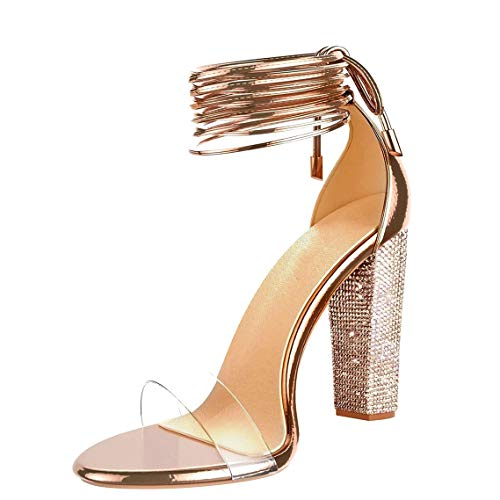 - VANDIMI High Heel Sandals for Women Clear Heels with Rhinestone Ankle Strappy Lace Up Block Heel Diamante Dress Party Shoes Rose Gold