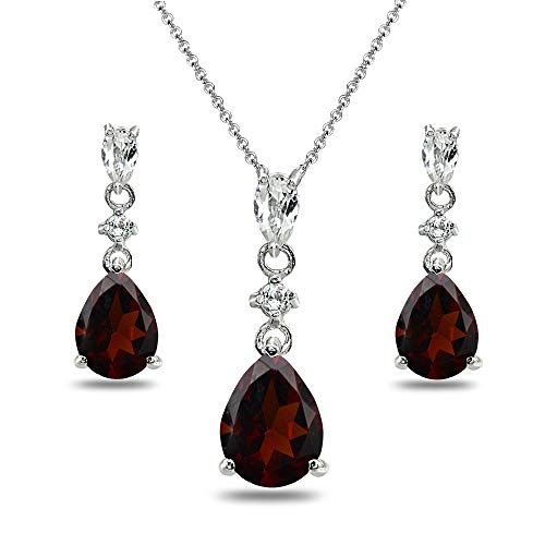 Sterling Silver Garnet & White Topaz Pear-Cut Teardrop Dangling Stud Earrings & Necklace Set