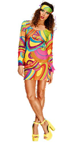 [Fever 70's Flower Multi-Coloured Power Costume with Dress and Head Scarf - Size Large] (Tie Dye Dress Costume)