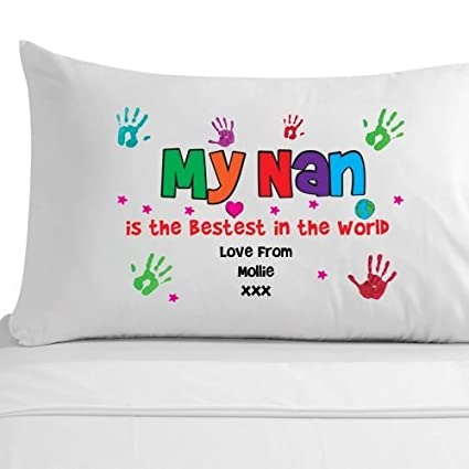 Personalised Nan Birthday Gifts Keepsake Handprint Pillowcase Pillow Case Amazoncouk Kitchen Home