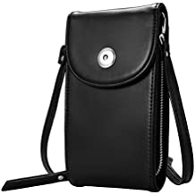 Crossbody Cell Phone Bag, M.Way Cellphone Wallet Purse PU Leather 3 Layers Storage Phone Pouch Women Handbag with Shoulder Strap for iPhone 6,7 Samsung S7 S6 Smartphone under 5.5 Inch Black