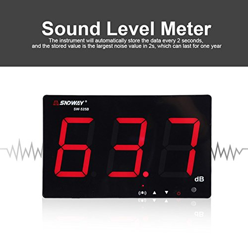 SNDWAY SW-525B Digital Sound Level Meter Noise Decibel Meter 30~130dB Large Display Wall Hanging Type by Krittapas Intertrade