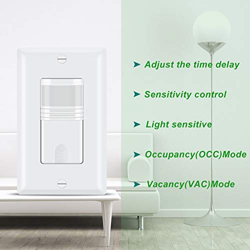 ECOELER Lighting Motion Sensor Wall Switches, PIR Motion Sensor Light Switch, Vacancy & Occupancy in Wall Sensor Switch, Neutral Wire Required, 1/8Hp Motor, Wall Plates Included, White, 4 Pack by ECOELER (Image #3)