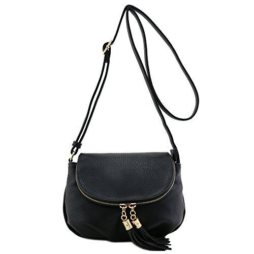 Black Leather Tassel Bag - 9