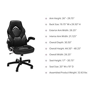 Essentials by OFM ESS-3085-WHT ESS-3085 Racing Style Bonded Leather Gaming Chair, White