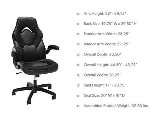 Essentials Silla de juego de cuero estilo carrera: computadora ergonómica giratoria, oficina o silla de juego, gris (ESS-3085-GRY)