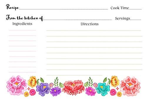 Fiesta Floral, Recipe Cards, Bridal Shower, Pink, Purple, Red, Green, Housewarming, Wedding, Gift, Wedding Gift, 24 Pack Printed Recipe - Shower Fiesta Invitations