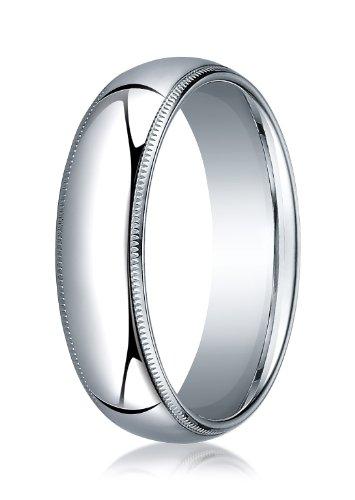 (Mens 18K White Gold, 6mm Slightly Domed Comfort-Fit Ring with Milgrain (sz)