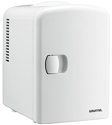 Gourmia GMF-600 Gourmia GMF600 Portable 6 Can Mini Fridge Cooler and Warmer for Home ,Office, Car or Boat AC & DC, White - 110V