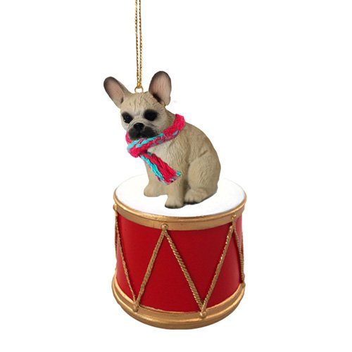 Little Drummer French Bulldog Fawn Christmas Ornament - Hand Painted - Delightful