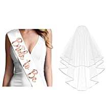 Rose Gold Bride to Be Sash and Veil with Comb Bridal Accessories forBachelorette Party Bridal Shower Hen Party Decoration