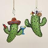 Kurt Adler Resin Cactus Ornament Set OF 2