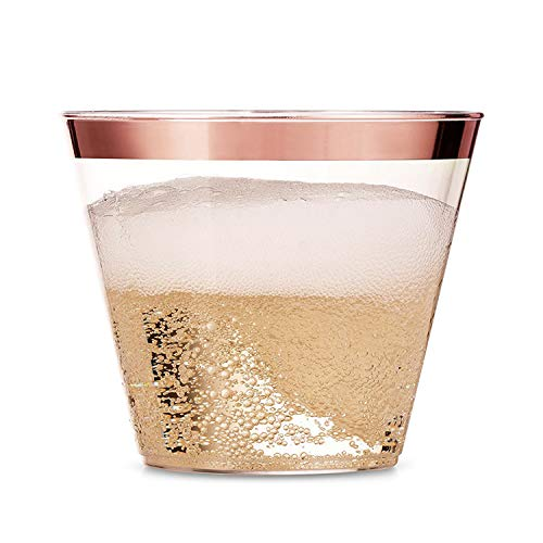 100 Rose Gold Rimmed Plastic Cups – 9