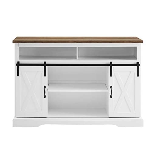 Farmhouse Living Room Furniture Pemberly Row Farmhouse Sliding Door Wood 52″ Highboy TV Stand Console Buffet Credenza Storage Cabinet in White farmhouse tv stands