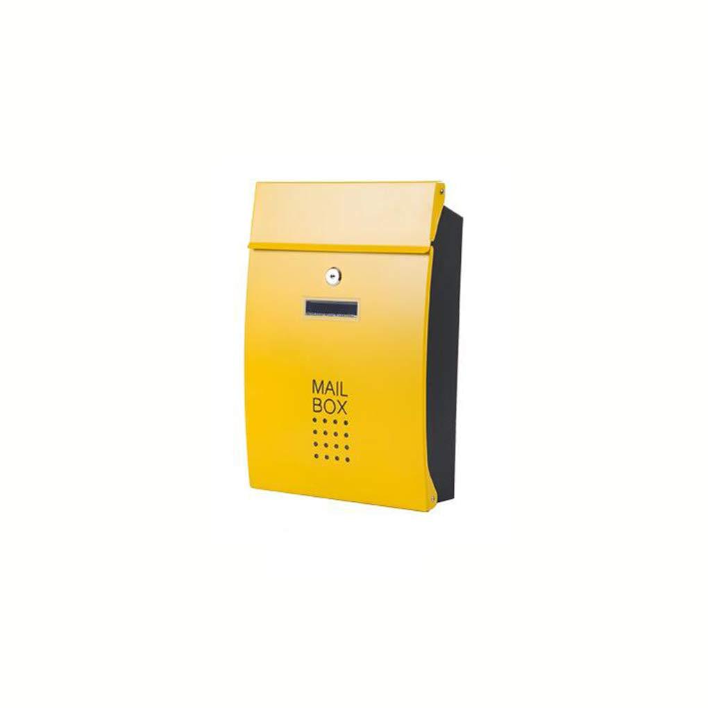 HZBb 屋外の壁掛けヨーロッパスタイルのヴィラアウトドアレインプルーフ家庭用レターボックス、壁掛け装飾、黄色   B07KDS16V8