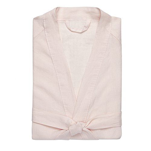 Kassatex Lino Bathrobe S/M, Women's Small/Medium, Powder Pink by Kassatex
