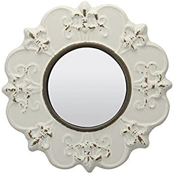 Stonebriar White Round Antique Ceramic Wall Mirror, Vintage Home Décor for Living Room, Kitchen, Bedroom, or Hallway, French Country Decor