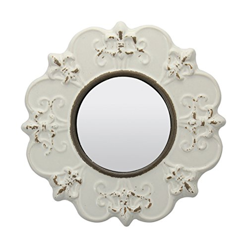 (Stonebriar Decorative Round Antique White Ceramic Wall Mirror, Vintage Home Décor for Living Room, Kitchen, Bedroom, or Hallway, French Country Decor)