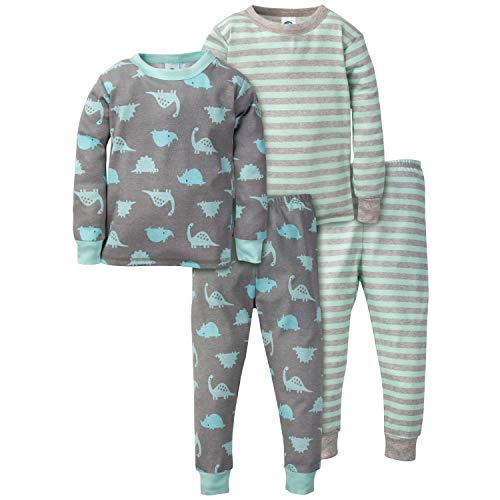Gerber Baby Boys Organic 2 Pack Cotton Footed Unionsuit, 3T, DINO -