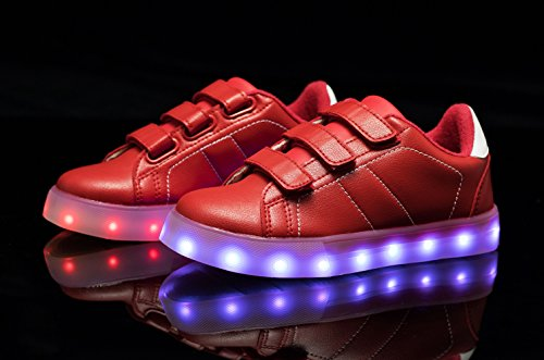 Santiro Unisex Muchacha de los Muchachos de La Carga del USB LED de Luz Luminosa Zapatillas Deporte Patín. Rojo