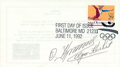 OLGA KORBUT SIGNED 1992 BARCELONA SPAIN OLYMPICS FIRST DAY OF ISSUE STAMP ()