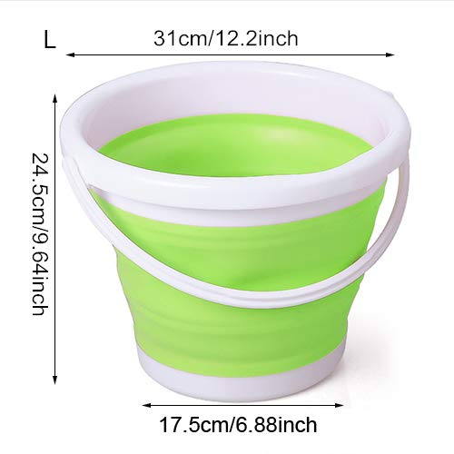 Best Quality - Buckets - Folding Bucket Bathroom Outdoor Fishing Bait Supplies Round Waterpot Silicone Portable Pail Car Washing Kitchen Tools Supplies - by jimmy liam - 1 PCs ()