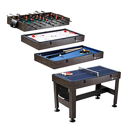 "MD Sports Table Tennis, Slide Hockey, Foosball, Billiards, 54"" 4-in-1 Combination Game Set with side Lock Clips - Quick Set-Up, Interchangeable, Fully Equipped ()"