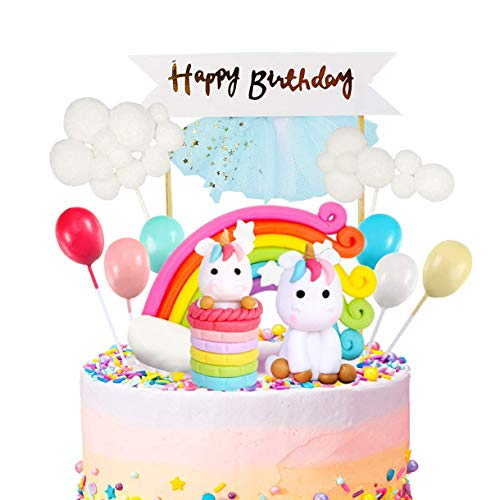 iZoeL Unicorn Cake Topper Kit Cloud Rainbow Balloon Happy Birthday Banner Cake Decoration Pack of 12 For Boys Girls Kids Birthday (Kids Cake Birthday Topper)