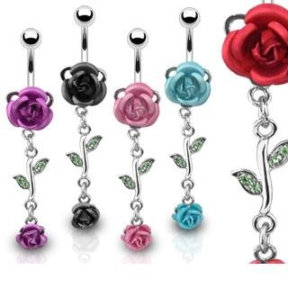 Body Accentz trade; Belly Button Ring Navel Double Gem Flower Rose Body Jewelry 14 Gauge set of 5