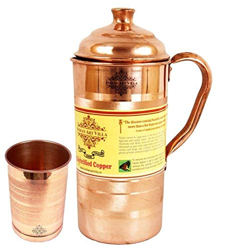 Indian Art Villa Copper Jug Pitcher with 1 Glass Tumbler; Drinkware and Serveware Set   Pack of 2