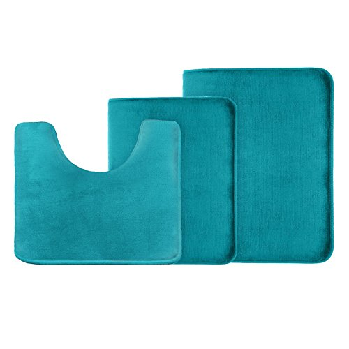 Memory Foam Bathrug Set – Teal Blue, Bath Mat and Shower Rug, Large 20