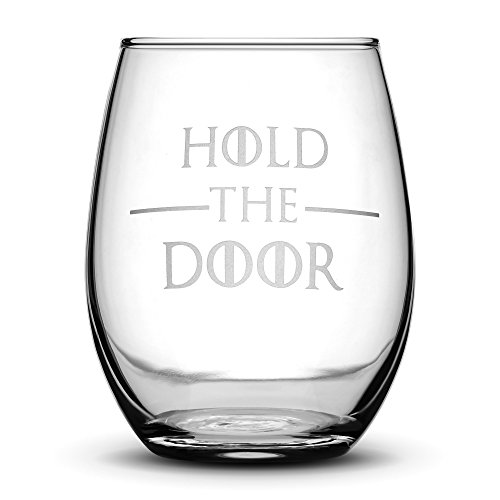 Doors Carved Glass (Premium Game of Thrones Wine Glass, Hold the Door, Hand Etched 14.2 oz Stemless Gifts, Made in USA, Sand Carved by Integrity Bottles)