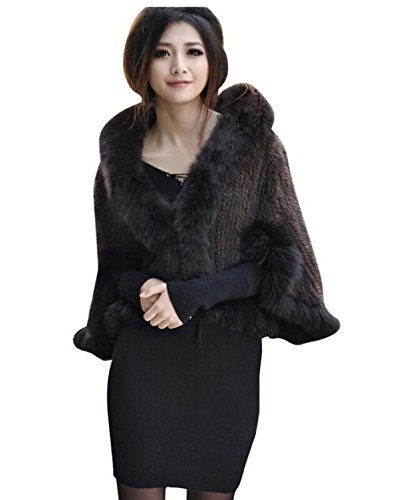 MEEFUR Women's Real Mink Fur Knitted Cappa with Fox Fur Collar Winter Warm Wedding Cloak Soft Natural Fur Cape - Brown Fox Coat Fur