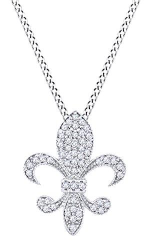 Christmas Sale Round Cut White Natural Diamond Medium Fleur Di Lis Pendant In 14k White Gold (0.33 cttw)