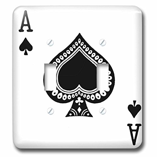 3dRose LLC lsp_76552_2 Ace Of Spades Playing Card Black Spade Suit Gifts For Cards Game Players Of Poker Bridge Games Double Toggle Switch by 3dRose