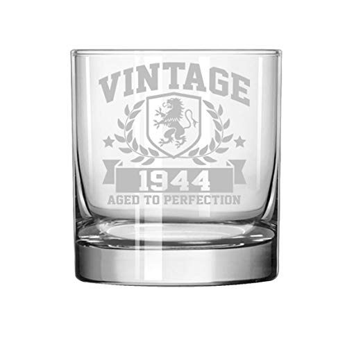11 oz Rocks Whiskey Highball Glass Vintage Aged To Perfection 1944 75th Birthday (Perfection Highball)